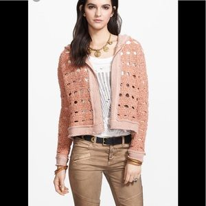 Free People Flurry Open Knit Hooded Cardigan